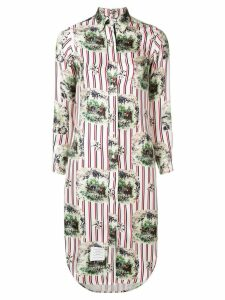 Thom Browne Tricolor Long Sleeve Shirtdress - White