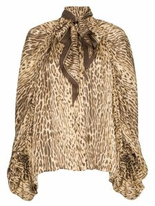 Zimmermann pussy-bow animal print blouse - Brown
