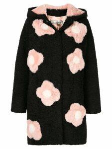 Tu es mon TRÉSOR faux fur flower coat - Black