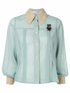 Tu es mon TRÉSOR sheer polka dot shirt - Blue
