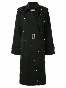 Tu es mon TRÉSOR dot pearl trench coat - Black