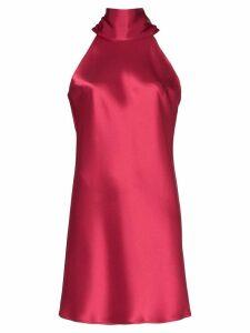 Galvan Sienna tie-neck satin mini dress - Red