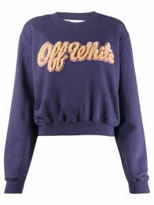 Off-White shearling logo sweatshirt - Blue