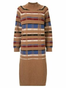 Coohem retro check knitted dress - Brown