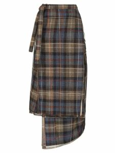 Y/Project asymmetric checked midi skirt - Blue