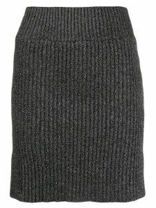 Alberta Ferretti ribbed glitter skirt - Black