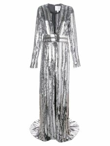 Galvan sequin floor-length evening gown - Silver