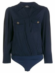 Elisabetta Franchi wrap utility shirt bodysuit - Blue