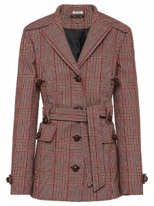 Miu Miu checked belted coat - Red