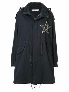Tu es mon TRÉSOR star-embellished parka coat - Blue