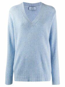 Prada loose v-neck jumper - Blue