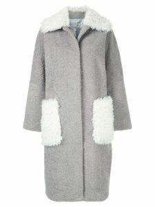 Tu es mon TRÉSOR Phoenix faux fur midi coat - Grey