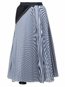 Sacai striped print pleated skirt - Blue