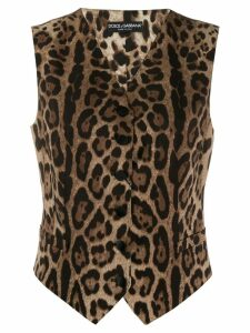 Dolce & Gabbana leopard print waistcoat - Brown