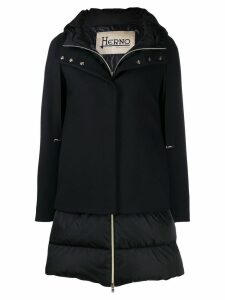 Herno layered hooded coat - Black