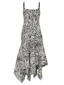Solace London Marisol zebra-stripe asymmetric dress - Black