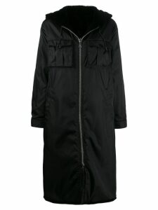 Prada fur lined parka coat - Black