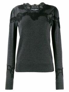 Dolce & Gabbana lace detail sweater - Grey