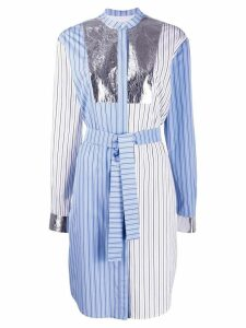 MSGM patchwork striped shirt dress - White