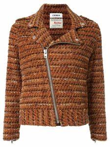 Coohem velvet tweed biker jacket - Brown