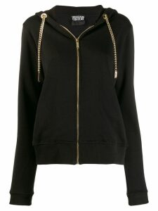 Versace Jeans Couture chain drawstring zipped hoodie - Black