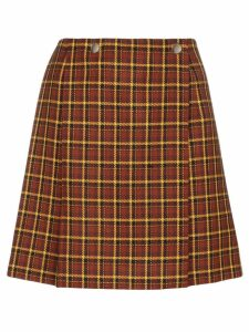 Plan C check pleated skirt - Brown