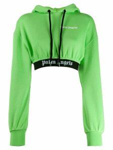 Palm Angels cropped logo hoodie - Green