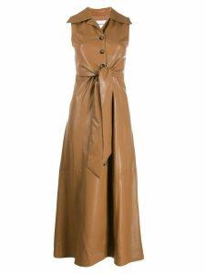 Nanushka faux leather midi dress - Brown