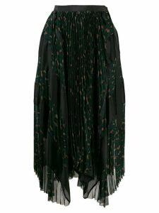 Sacai plisse animal pattern skirt - Green