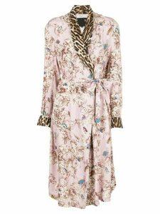 R13 floral print robe coat - PINK