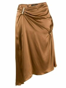 Versace embellished draped mid-length skirt - Brown