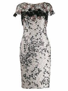 Talbot Runhof Tookie lace embroidered dress - Grey