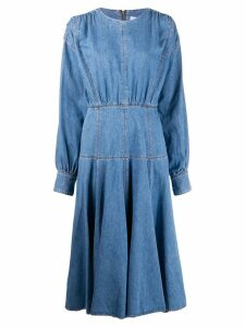 MSGM contrast stitching denim dress - Blue