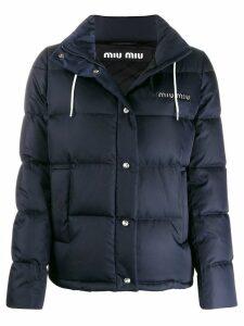 Miu Miu detachable hood puffer jacket - Blue