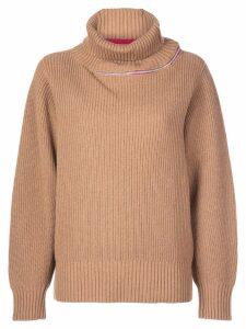Sacai contrasting stripe turtleneck jumper - Brown