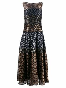Talbot Runhof leopard lace mix dress - Gold