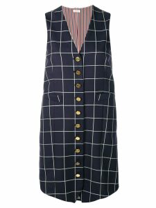 Thom Browne windowpane shadow check twill waistcoat dress - Blue