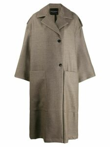 Erika Cavallini oversized wool coat - Brown