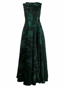 Talbot Runhof Toriel silk jacquard dressr - Green