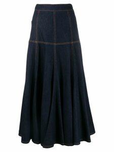 MSGM contrast stitching denim skirt - Blue