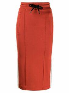 Palm Angels stripe detail midi skirt - Red