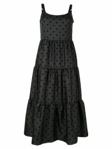 Tu es mon TRÉSOR Dot organdy maxi dress - Black