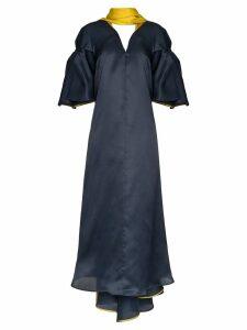 Roksanda Farola V-neck draped silk organza dress - Blue