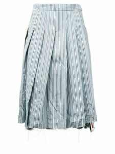 Thom Browne Tricolor Washed Stripe Pleated Skirt - Blue