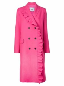 MSGM ruffled double-breasted coat - Pink