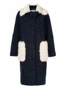 Tu es mon TRÉSOR Phoenix faux fur coat - Blue
