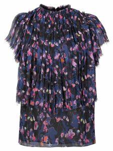 Jason Wu Collection pleated trim floral blouse - Black