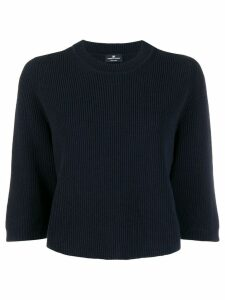 Elisabetta Franchi ribbed knit boxy sweater - Blue