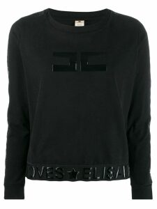 Elisabetta Franchi patent logo long sleeve top - Black