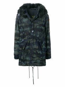 Mr & Mrs Italy distressed fur-trimmed parka coat - Blue